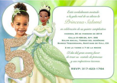 LA PRINCESA Y EL SAPO, invitación digital personalizada con fotografía, descarga inmediata. $20.000 pesos. comprar
